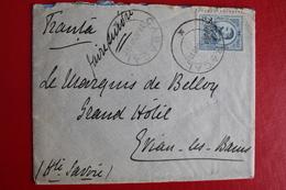 1912        ENVELOPPE   COMPLETE     DE   CARACAL     POUR  EVIAN  LES  BAINS   FRANCE - 1881-1918: Charles Ier