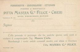 """9377-CARTOLINA PUBBL. FERRAMENTA-CHINCAGLIERIE-OTTONAMI """"DITTA MASERA G.NI FELICE""""- CHIERI - Publicité"""