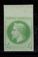 Lauré - Essai Non Dentelé En Vert Du YV 27 , NSG (*) , BdF Cote 35+ Euros - 1863-1870 Napoleon III With Laurels