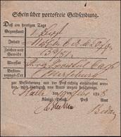Preußen Vorphilatelie Einlieferungsschein über Geldbegleitbrief Halle 19.2.1828 - ...-1849 Vorphilatelie
