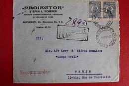 1927        ENVELOPPE   COMPLETE   RECOMMANDEE    DE   BUCAREST   POUR  PARIS - 1881-1918: Charles Ier