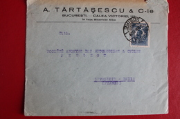 1924        ENVELOPPE   COMPLETE       DE   BUCAREST   POUR  PARIS - 1881-1918: Charles Ier