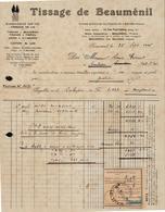 FACTURE ETS TISSAGE - 13 RUE PAUL LELONG - PARIS 2EME - BEAUMENIL - BRUYERES - VOSGES - AUCOURT - SAULIEU - 1946 - 1900 – 1949
