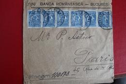 1927        ENVELOPPE   RECOMMANDE  COMPLETE       DE   BUCAREST   POUR  PARIS           2   PHOTOS - 1881-1918: Charles Ier