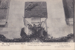 HANS - Plaque Commémorative Du Corps D'Armée Colonial - Gde Guerre 1914/1915 - A Voir - France