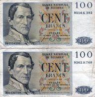 2 Billets Belge De 100 Francs 27-01-58 Et 06-01-58 - En T B - - Belgium