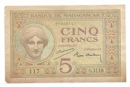 5 Francs Madagascar 1937 - Madagaskar