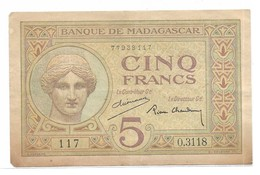 5 Francs Madagascar 1937 - Madagascar