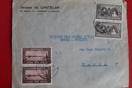 1929        ENVELOPPE        COMPLETE       DE   BUCAREST   POUR  PARIS - 1918-1948 Ferdinand I., Charles II & Michel