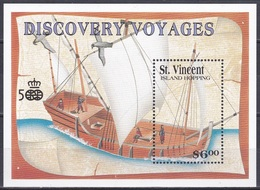 St. Vincent 1991 Geschichte History Entdeckungen Discovery Kolumbus Columbus Seefahrt Schiffe Ships, Bl. 170 ** - St.Vincent (1979-...)