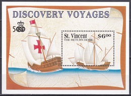 St. Vincent 1991 Geschichte History Entdeckungen Discovery Kolumbus Columbus Seefahrt Schiffe Ships, Bl. 171 ** - St.Vincent (1979-...)