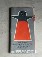 """Plan Des Emménagements Deck Plan SS """" FRANCE """"   Dimension - 85,5 X 63 Cm - Technical Plans"""