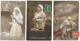 Lot De 3 Cartes  - Femmes De La Croix Rouge Fr.   - WWI - Rotes Kreuz