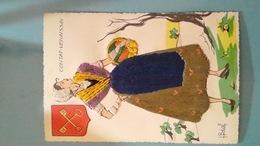 CARTE POSTALE ANCIENNE ANNEES 50 BRODEE A FIL SIGNEE ILLUSTRATEUR BEAL - CONTAT VENAISSIN - Brodées