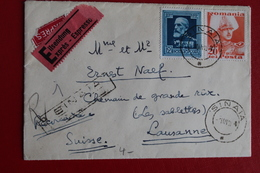 1940      ENVELOPPE    EN  EXPRES         COMPLETE       DE    BUCAREST         POUR    LAUSANNE   2   PHOTOS - 1918-1948 Ferdinand I., Charles II & Michel