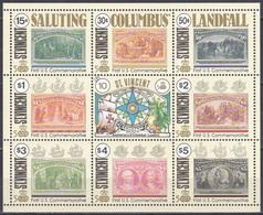 St. Vincent 1991 Geschichte History Entdeckungen Discovery Kolumbus Columbus Schiffe Ships Palme USA, Mi. 1694-1702 ** - St.Vincent (1979-...)