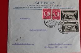 1934      ENVELOPPE       COMPLETE      DE   BUCAREST         POUR    LYON   EN  FRANCE - 1918-1948 Ferdinand I., Charles II & Michel