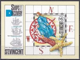 St. Vincent 1991 Geschichte History Entdeckungen Discovery Kolumbus Columbus Gallionsfigur Seestern Starfish, Bl. 165 ** - St.Vincent (1979-...)