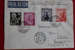 1938      ENVELOPPE     RECOMMANDEE  PAR  AVION    COMPLETE      DE   BUCAREST         POUR    LUCERNE   EN   SUISSE - 1918-1948 Ferdinand I., Charles II & Michel