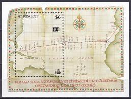 St. Vincent 1992 Geschichte History Entdeckungen Discovery Kolumbus Columbus Seekarte Maps Chicago COLUMBIAN, Bl. 208 ** - St.Vincent (1979-...)