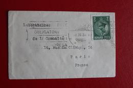 1936      ENVELOPPE     MIGNONETTE      COMPLETE      BUCAREST         POUR     PARIS - 1918-1948 Ferdinand I., Charles II & Michel