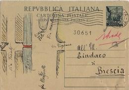 ITALIE ENTIER POSTAL PARTIE ENVOI OBLITEREE - 1946-.. République