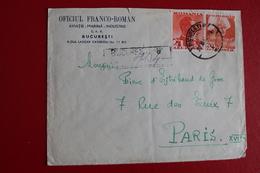 1939      ENVELOPPE      RECOMMANDEE      COMPLETE      BUCAREST         POUR     PARIS - 1918-1948 Ferdinand I., Charles II & Michel