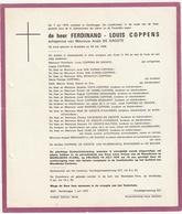 Doodsbrief Ferdinand L.  COPPENS Echtg. Anaïs De Groote Borsbeke 1906 Gentbrugge 1970 Van Wijndaele Brackenier De Backer - Décès