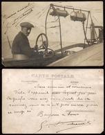TOP - AVIATEUR GASTON DUBREUIL - CARTE PHOTO AUTOGRAPHE APRES SON ACCIDENT A REIMS DE JUIN 1912 SUR MONOPLAN HANRIOT - Aviateurs