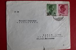 1938      ENVELOPPE          COMPLETE      BUCAREST         POUR     PARIS - 1918-1948 Ferdinand I., Charles II & Michel