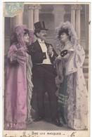 """CARTE FANTAISIE. SÉRIE COMPLÈTE DE 5 CARTES COLORISÉES.  """" BAS LES MASQUES """". ANNÉE 1906 - Women"""