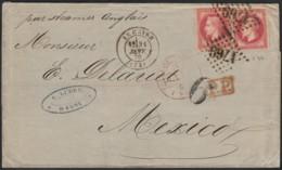 N°32 (x2), Oblitérés Le Havre Sur Lettre Destination MEXICO (Mexique) - TB - 1863-1870 Napoleon III With Laurels