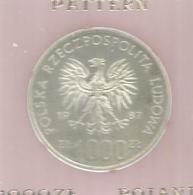 Monnaie , Pologne , Pattern ,1000 Zl , Poland , 1987 , Polska Rzeczpospolita Ludowa, Proba ,  Frais Fr 3.15e - Pologne