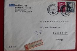 1958     ENVELOPPE    RECOMMANDEE   DE    BUCAREST  POUR    PARIS - 1948-.... Républiques