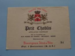 PETIT CHABLIS > Etiketten / Etiquettes De Collectionneur / Verzamelaar De Regio > MENIN / MENEN > Detail Zie Foto ! - Autres