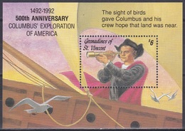 St. Vincent Grenadinen Grenadines 1992 Entdeckungen Discovery Kolumbus Columbus Seefahrt Schiffe Ships, Bl. 114 ** - St.Vincent & Grenadines