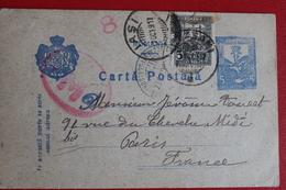 1911    ENTIER  POSTAL  ET  TIMBRE  DE  COMPLEMENT  CENSURE  MILITAIRE  ROUMAINE   DE  IASI  POUR  PARIS - 1881-1918: Charles Ier