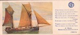 Ancien BUVARD Illustré  C.E.I.M  Départ Pour La Pèche Voilier - Buvards, Protège-cahiers Illustrés
