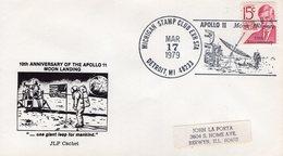 UNITED STATES  -  1979 10TH ANN. MOON LANDING  MICHIGAN STAMP CLUB EXH  STATION  FDC6349 - Stati Uniti
