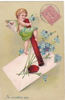 ANGE SUR DES   TIGES  DE   MYOSOTIS ,,,, CARTE GAUFREE,,,,VOYAGE 1906,,,,,TBE - Anges