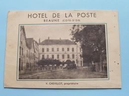 Hôtel DE LA POSTE ( Prop. V. Chevillot ) Tél 0.77 BEAUNE (Cote-D'Or) VIEUX Dépliant ( Detail > Voir Photo Svp ) - Publicités