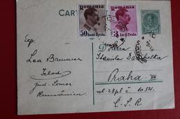 1939 -  ENTIER  POSTAL  DE  3,50   LEI    DE   ICLOD   POUR   PRAGUE   TCHECOSLOVAQUIE - 1918-1948 Ferdinand I., Charles II & Michel