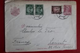 1939 -  ENVELOPPE   ENTIER  POSTAL  DE  6   LEI  PLUS  3  TIMBRES  EN  COMPLEMENT    DE   BUZIAC  POUR   LA  FRANCE - 1918-1948 Ferdinand I., Charles II & Michel