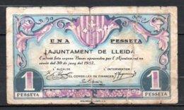 566-Espagne LLeide Billet De 1 Peseta 1937 - [ 3] 1936-1975 : Régence De Franco