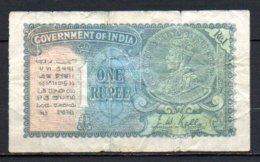 566- Inde Billet De 1 Rupee 1937 F14 Usé - Inde