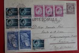 1947 -  ENTIER  POSTAL  DE  140   LEI  PLUS  10  TIMBRES  EN  COMPLEMENT    DE   VASLUI   POUR   LA  FRANCE - 1918-1948 Ferdinand I., Charles II & Michel
