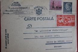 1948 -  ENTIER  POSTAL  DE  7,50   LEI  PLUS  3  TIMBRES  EN  COMPLEMENT    DE   VASLUI   POUR   LA  FRANCE - 1918-1948 Ferdinand I., Charles II & Michel