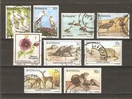 Botswana 1982/7 - Petit Lot De 9° - Suricate - Daman - Mangouste - Ombrette - Cigogne - Canards - Hibiscus - Botswana (1966-...)