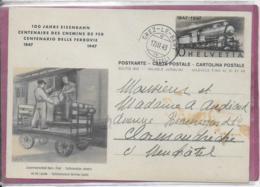 CENTENAIRE DES CHEMINS DE FER  1847-1947 Collaboration Des Chemins De Fer / Poste - Enteros Postales