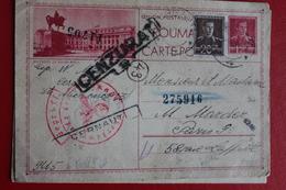 1944  -  ENTIER  POSTAL  DE  12  LEI  PLUS COMPLEMENT DE CERNAUTI  POUR   PARIS  CENSURE  ALLEMANDE  ET  ROUMAINE - 1918-1948 Ferdinand I., Charles II & Michel